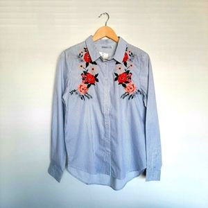Serene Bohemian Shirt Floral Embroidery Wo…